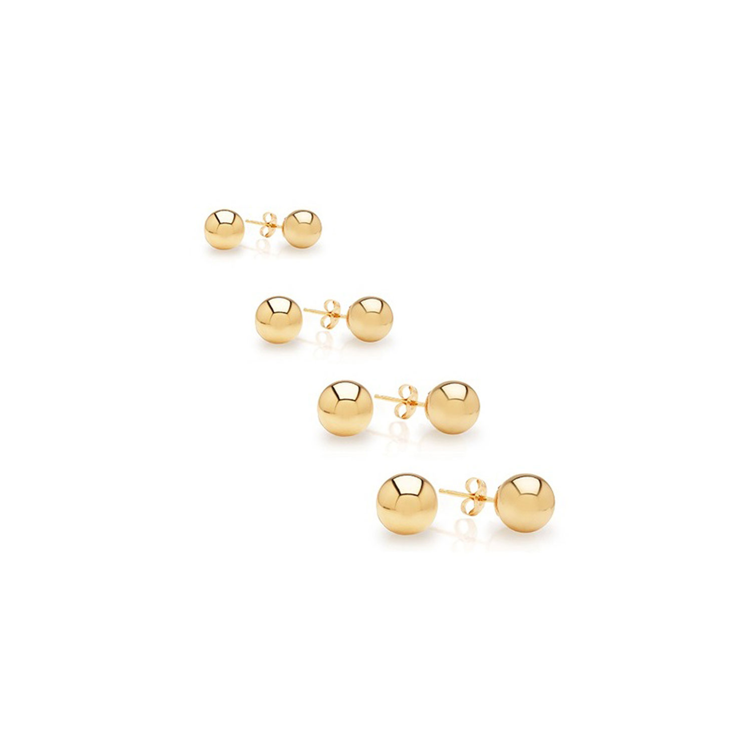 14K Solid Yellow Gold  Ball Stud Earrings