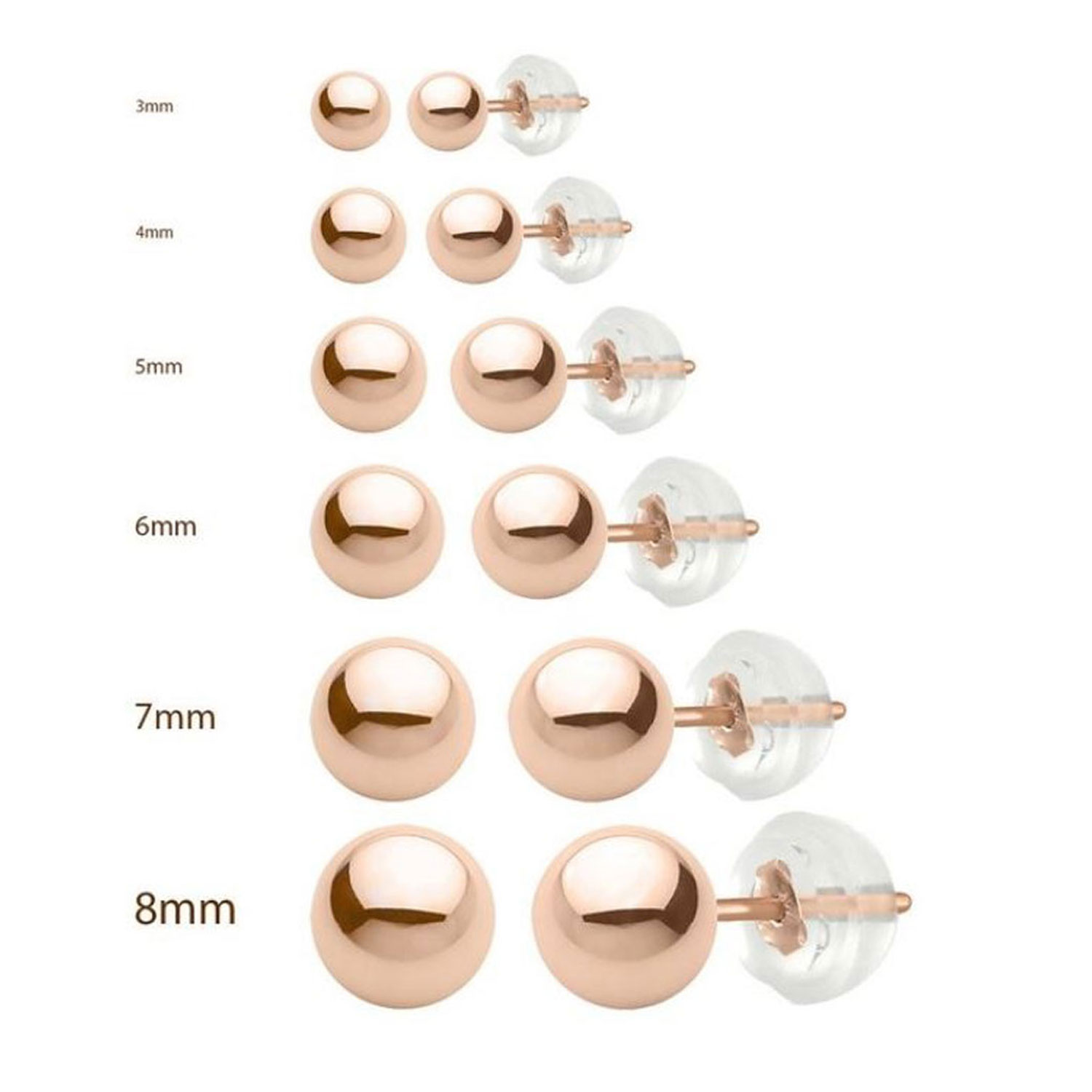 14k Ball Stud Earrings Yellow White and Rose Gold