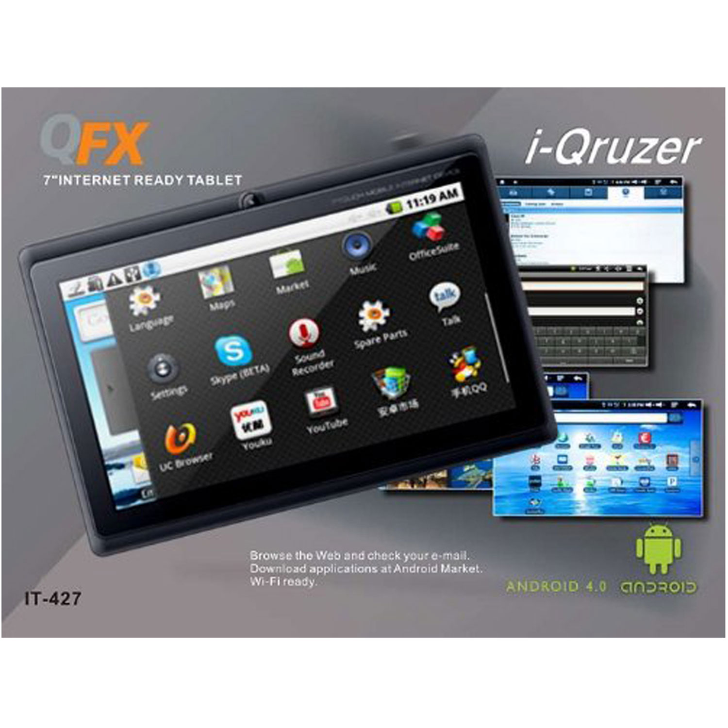 QFX Android 4.0 Tablet (IT-427) - Refurbished