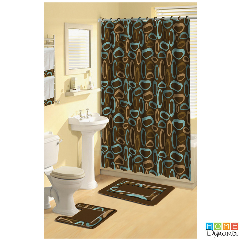 Skusky Brown Beige Boutique Deluxe Shower Curtain And Bat