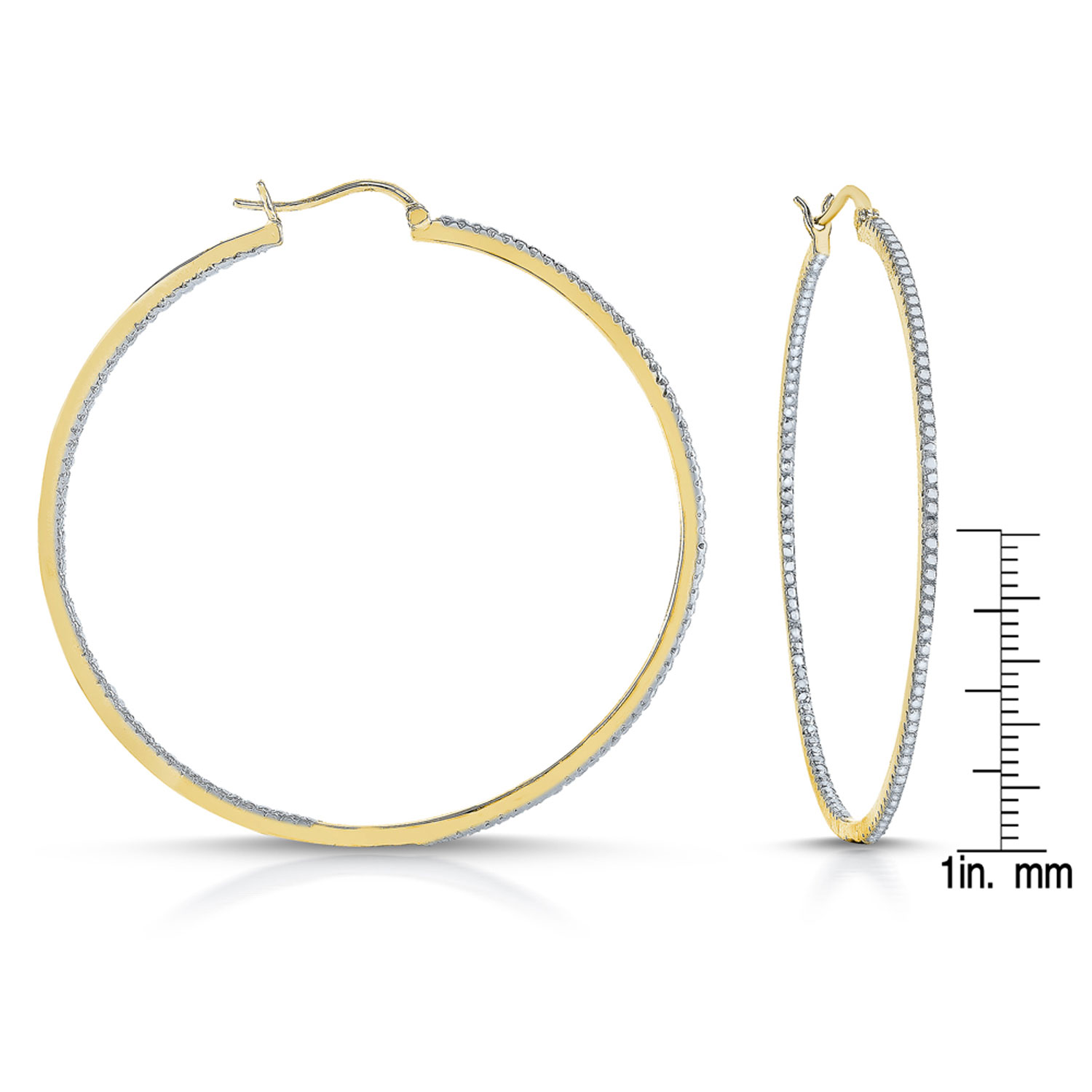 Gold Plated Base Metal Hoop Earrings With Stone Accents