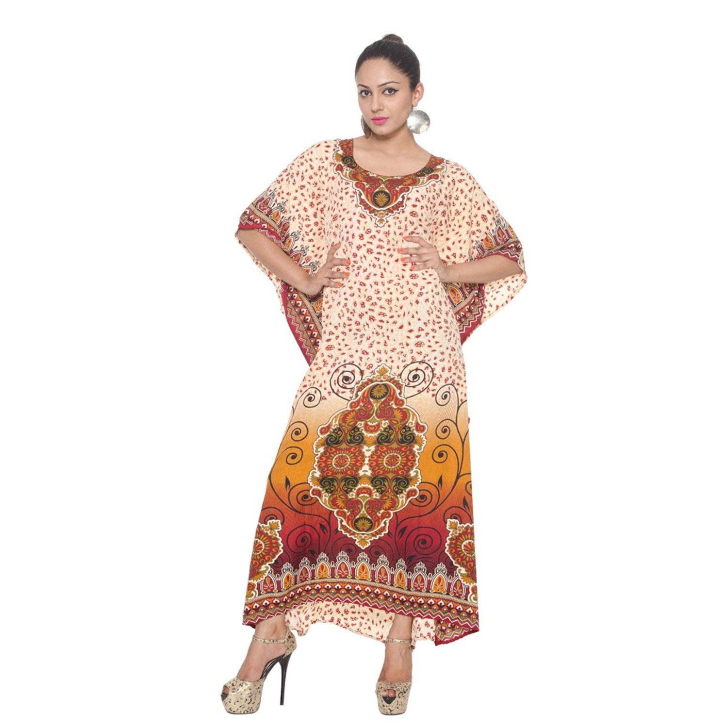 Alphabet Deal | Cream Long Caftan Dress for Women Kaftan Plu| Price : $29.99