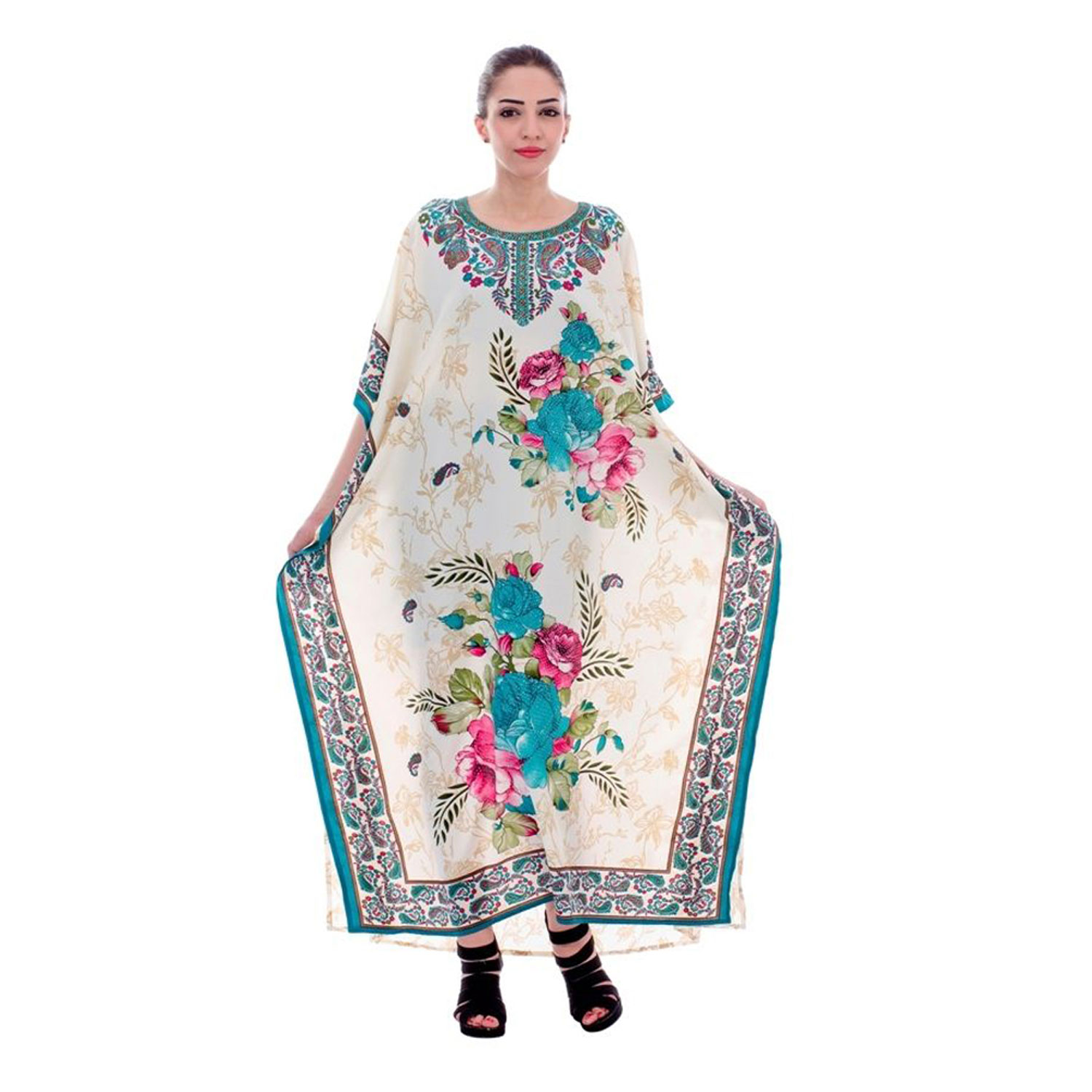 Alphabet Deal | Long Caftan Dress Cream for Women Kaftan Plu| Price : $29.99