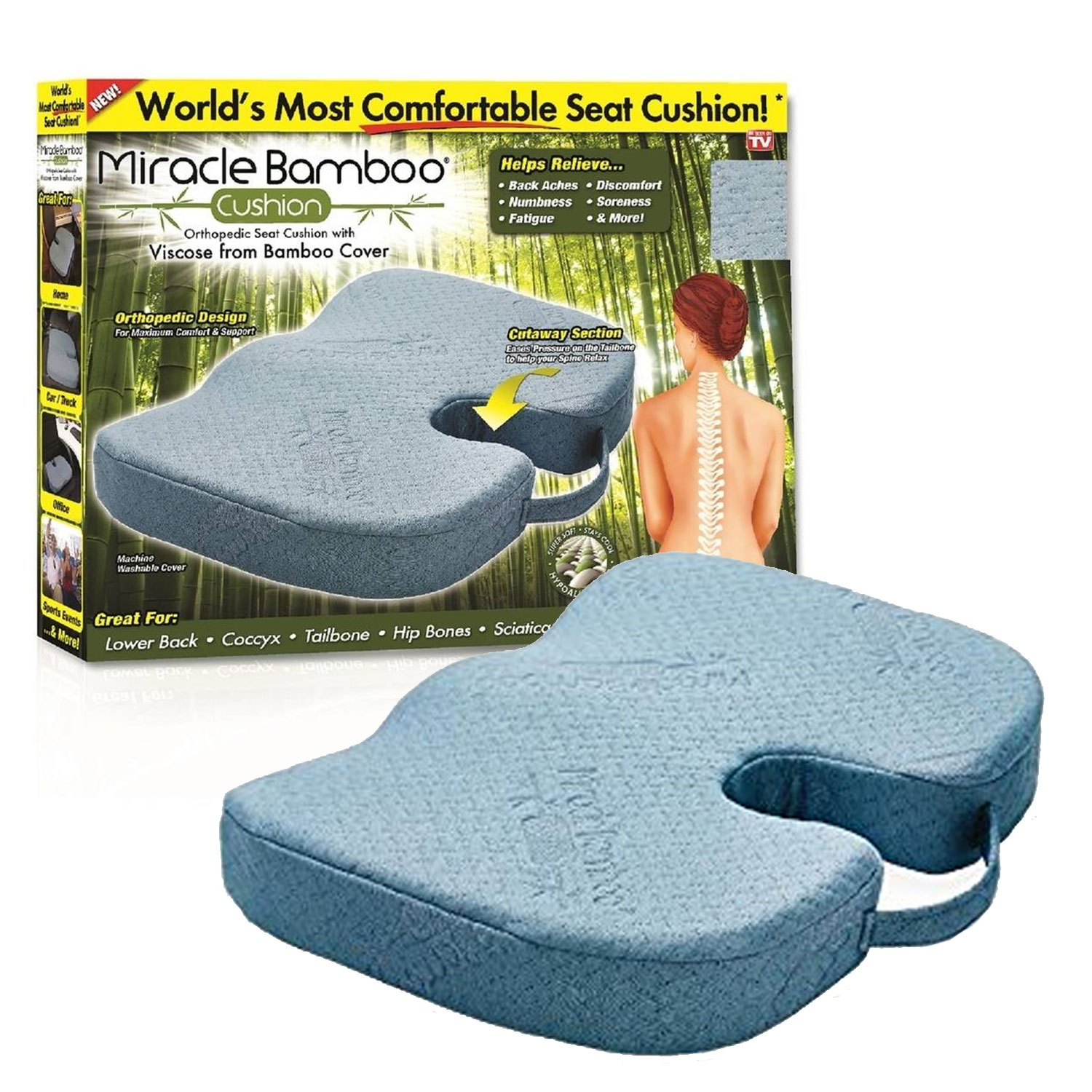 Miracle Bamboo Cushion Orthopedic Seat Cushion
