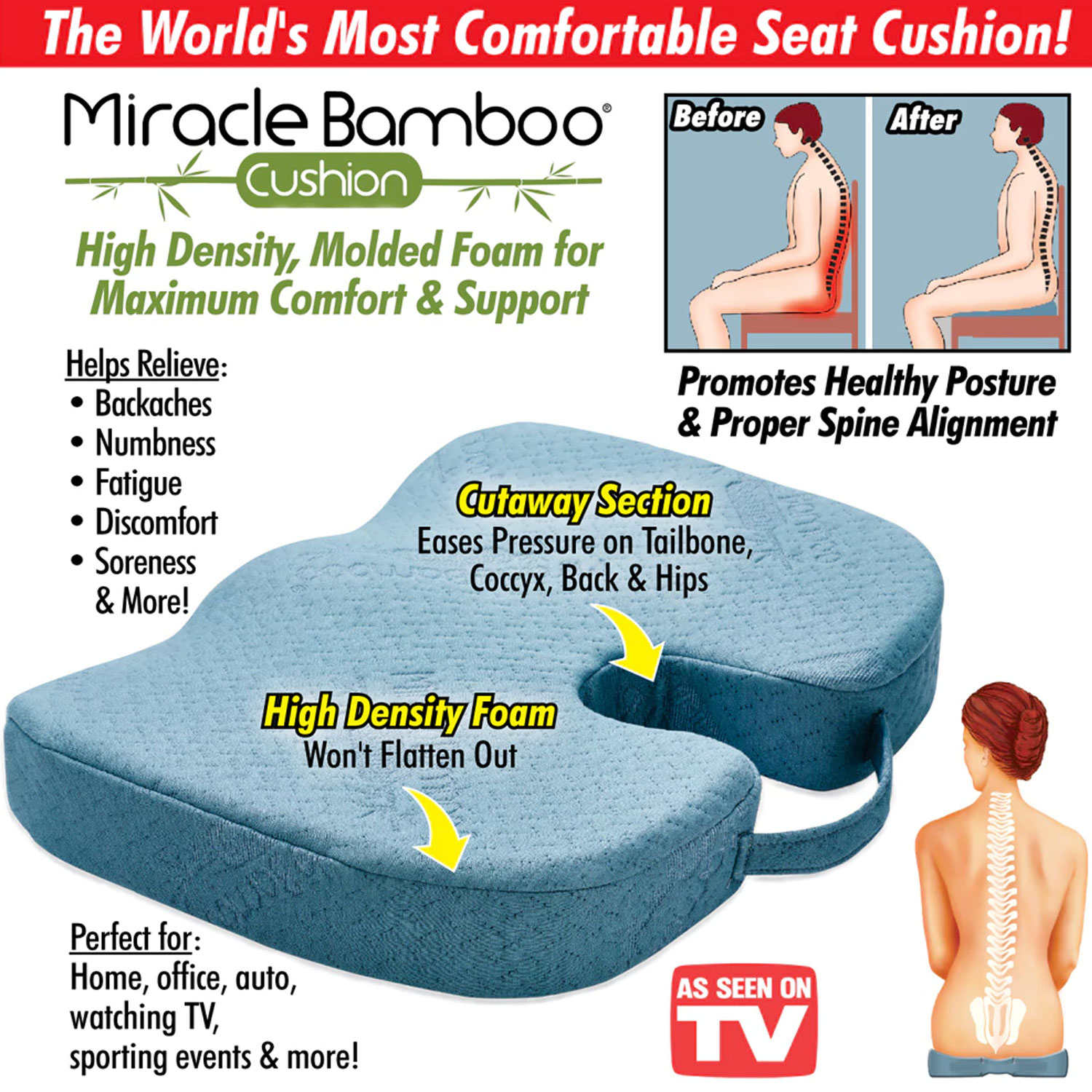 Miracle Bamboo Cushion Orthopedic Seat Cushion - Alphabet Deal Miracle Bamboo Cushion Orthopedic Seat Cushion
