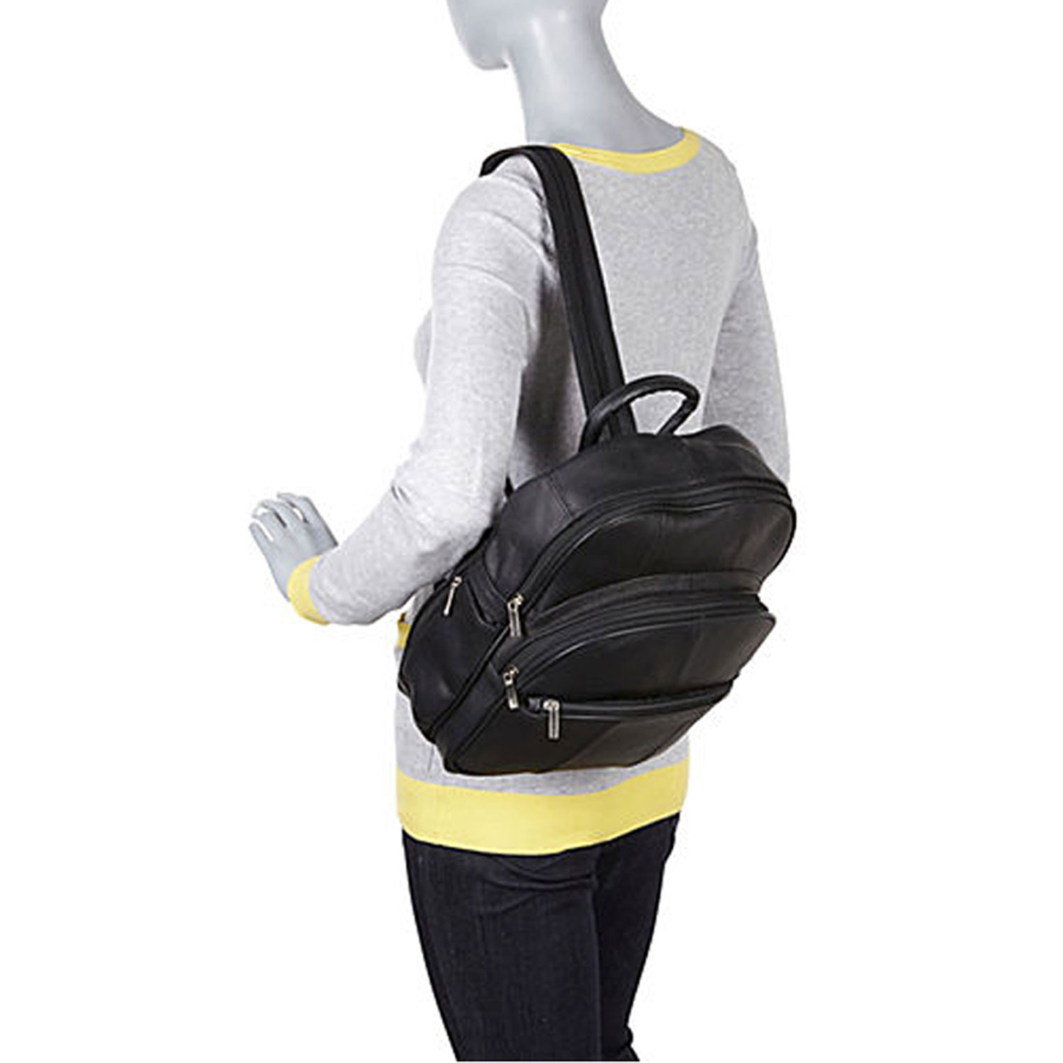 Leather Triple Zip Around Large Backpack