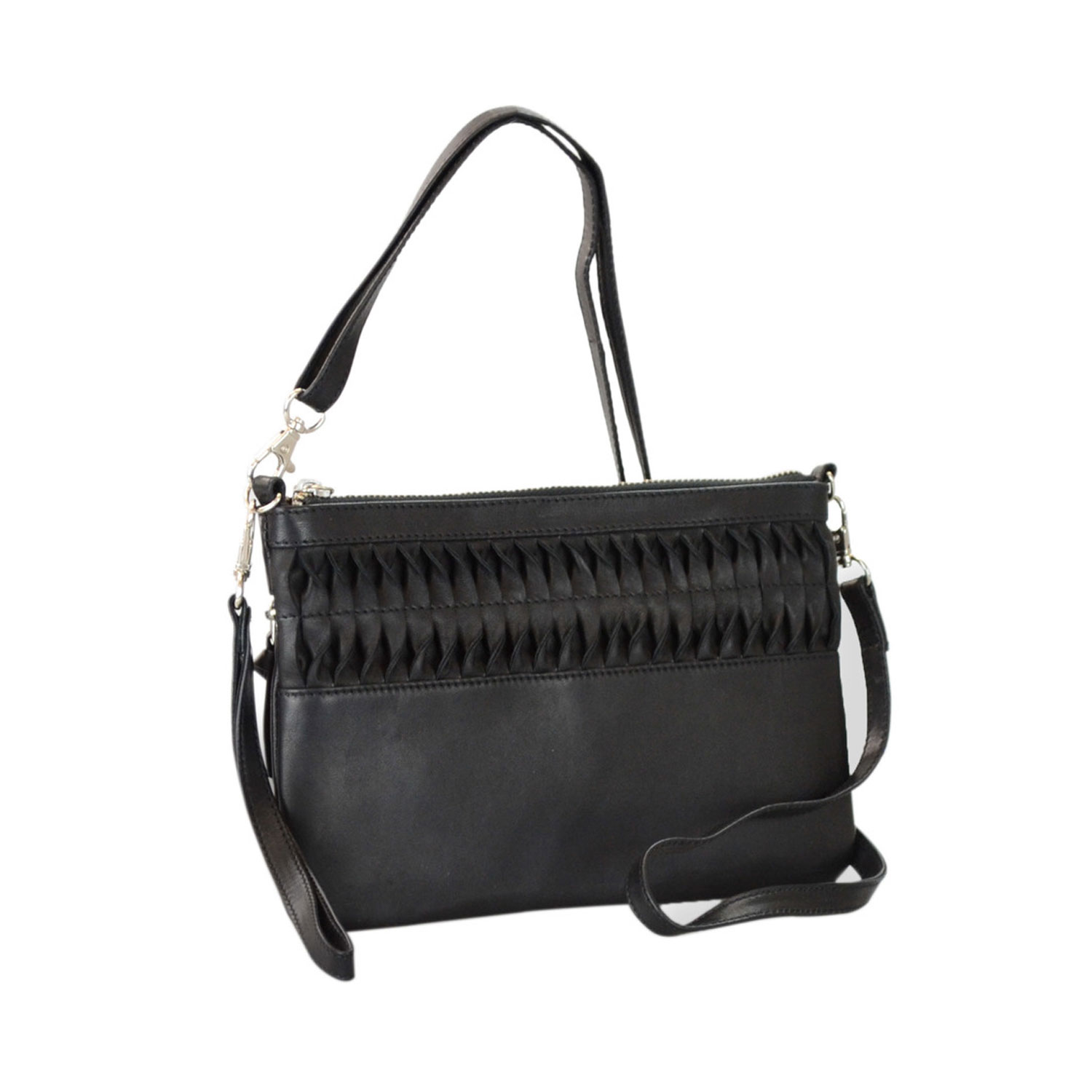 b1c49067267b Genuine Leather Crossbody Bag With Cluth And Ruffle Detail