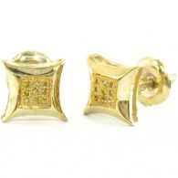 0.925 Sterling Silver Canary Yellow Diamond Kite Earrings 1.00 Grams