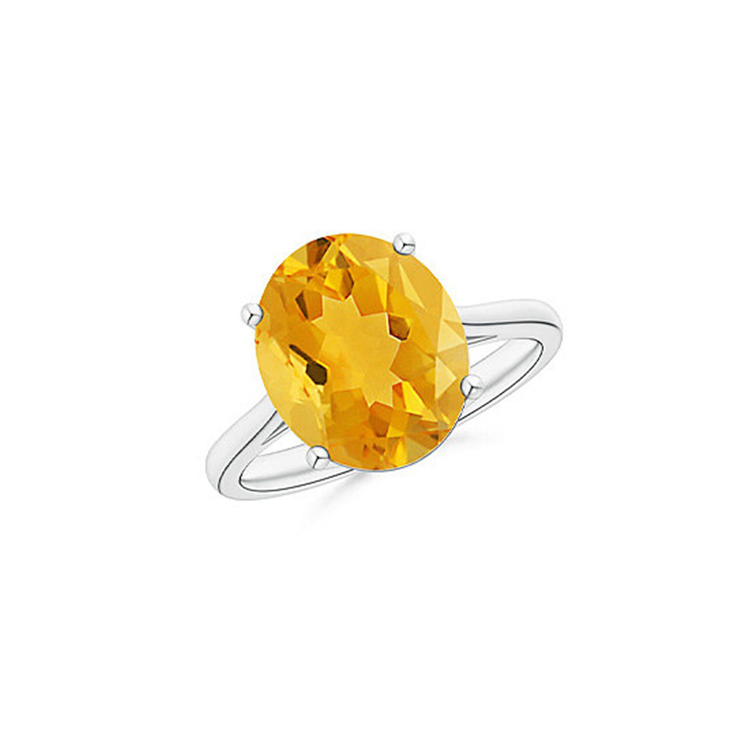 5.00 CTTW Genuine Citrine Gemstone Sterling Silver Ring