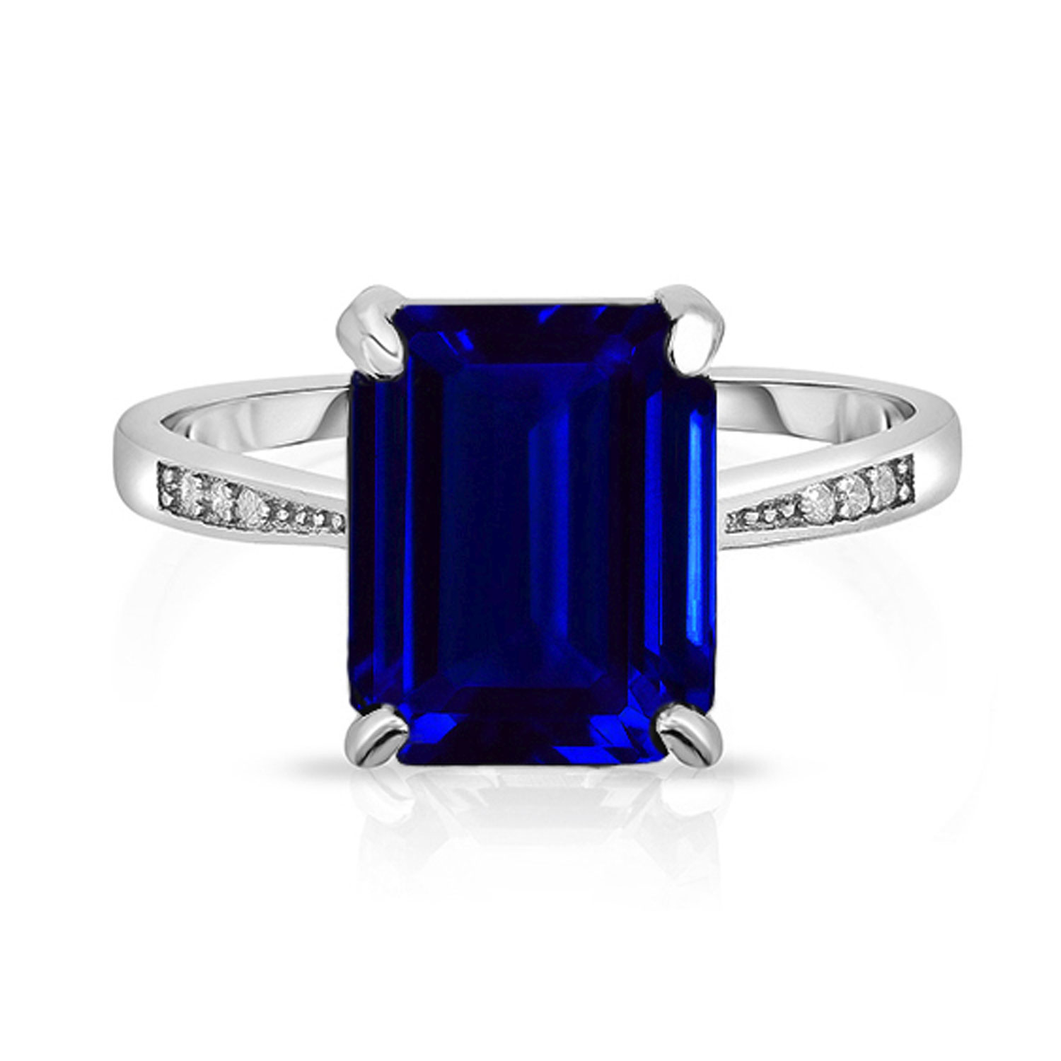 4.00 CTTW Sapphire Sterling Silver Ring
