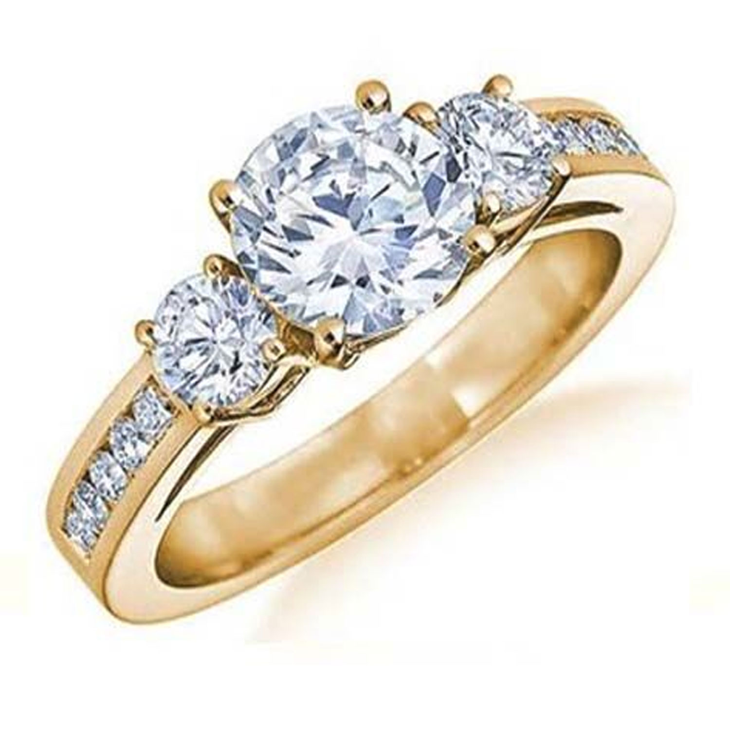 18k Gold-Plated Tri-Stone Round-Cut Bridal Ring