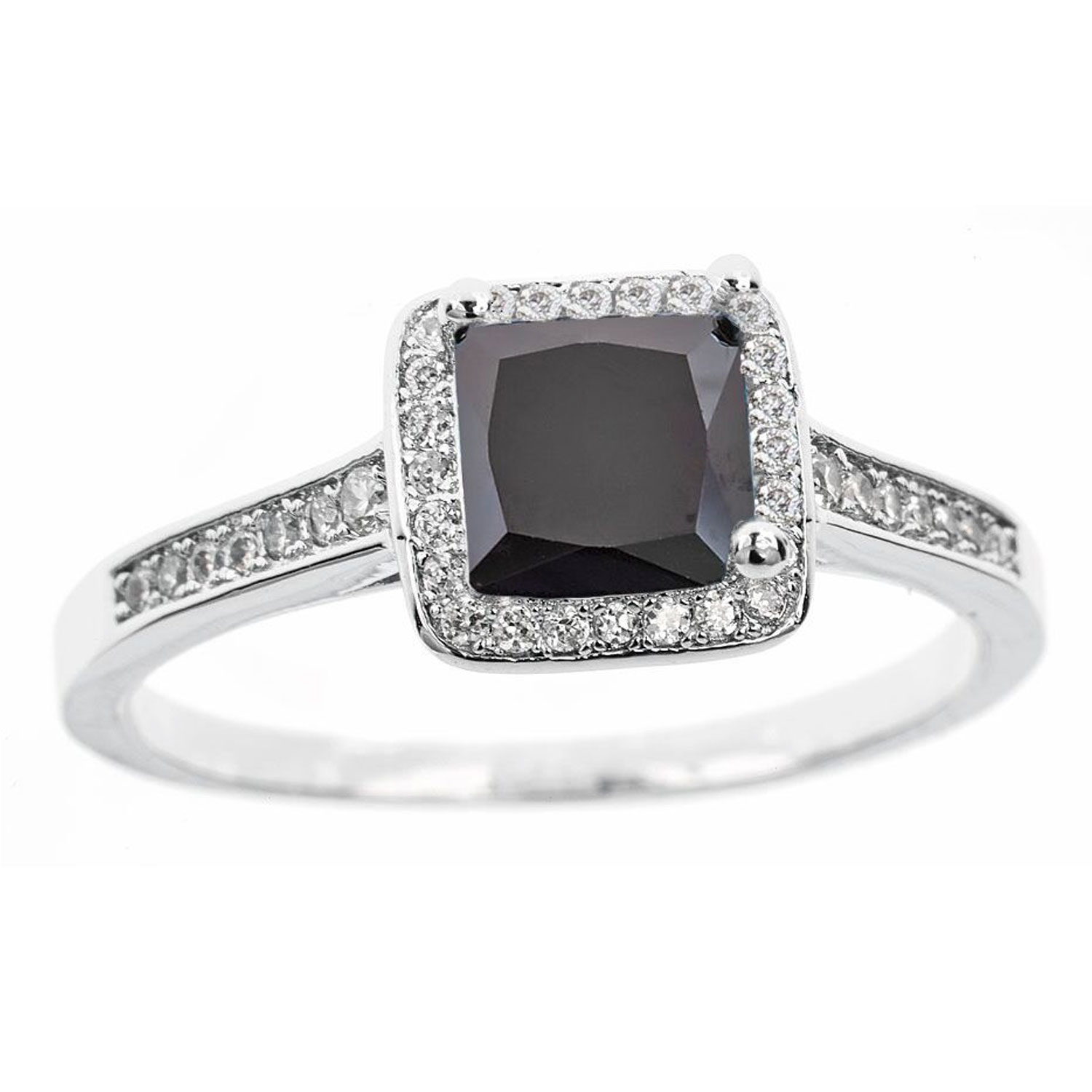 18k White Gold Plated 2.00 CTTW Princess Cut Halo Ring