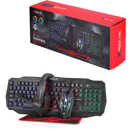 Rainbow Backlit Gaming Keyboard Mouse 4D Headset And Mousepad
