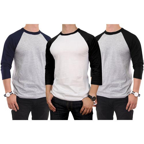 3 Pack Men's 3/4 Sleeve Baseball T-Shirt