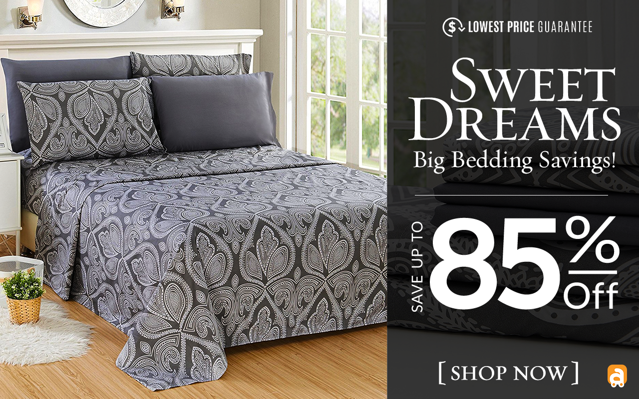 Save up to 79% on luxurious bedding, choose from bamboo, embossed, and more!