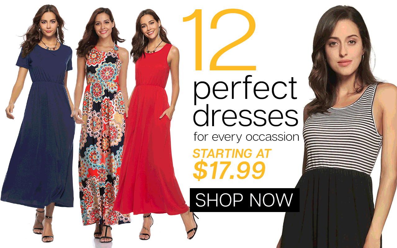 12 Perfect Dresses for every occassion  Starting at $17.99  || Lowest Price Guarantee
