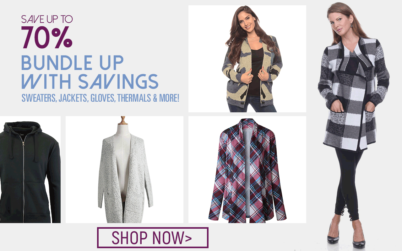 Don't be left in the cold! Save on Sweaters, Jackets, Gloves, Thermals & More!
